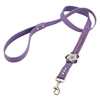 Purple leather dog leash with Violet and Hematite gem stone