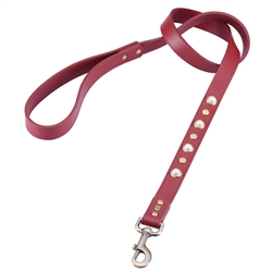 Red leather dog leash with glass pearl and round brass studs