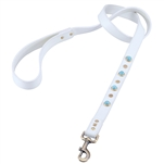 White leather leash with turquoise color glass cabochons and round brass studs