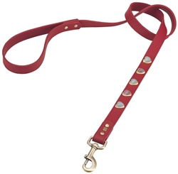 Red leather dog leash with heart shaped pink & white cat eye cabochons