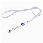 White leather dog leashes with circle and Blue Cat Eye gem stones