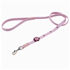 Pink leather dog leashes with flower and purple glass