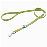 Green leather dog leashes with flower and Sodalite gem stone