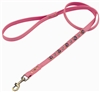 Pink leather dog leash with faceted pink & white Cat Eye