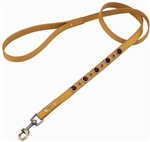 Yellow leather dog leash with faceted Carnelian & Purple Glass