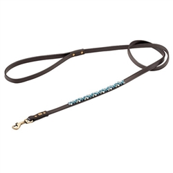 Brown leather dog leash with beaded Aventurine & Turquoise.