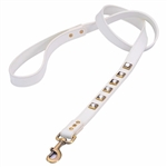 Monte Carlo white leather dog leash with princess cut square Rhinestones