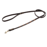 Brown leather dog leash with faceted Gold Sand Stone