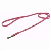 Dark pink leather dog leash with faceted pink Cat Eye