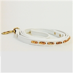 White mini leather dog leash with picture jasper tube-shaped beads