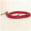 Red Mini Stripes leather dog leash with hematite tube-shaped beads