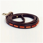 Brown mini leather dog leash with gold sand stone tube-shaped beads