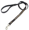 Brown leather dog leash with brass studs and pyramid Tiger Eye cabochons